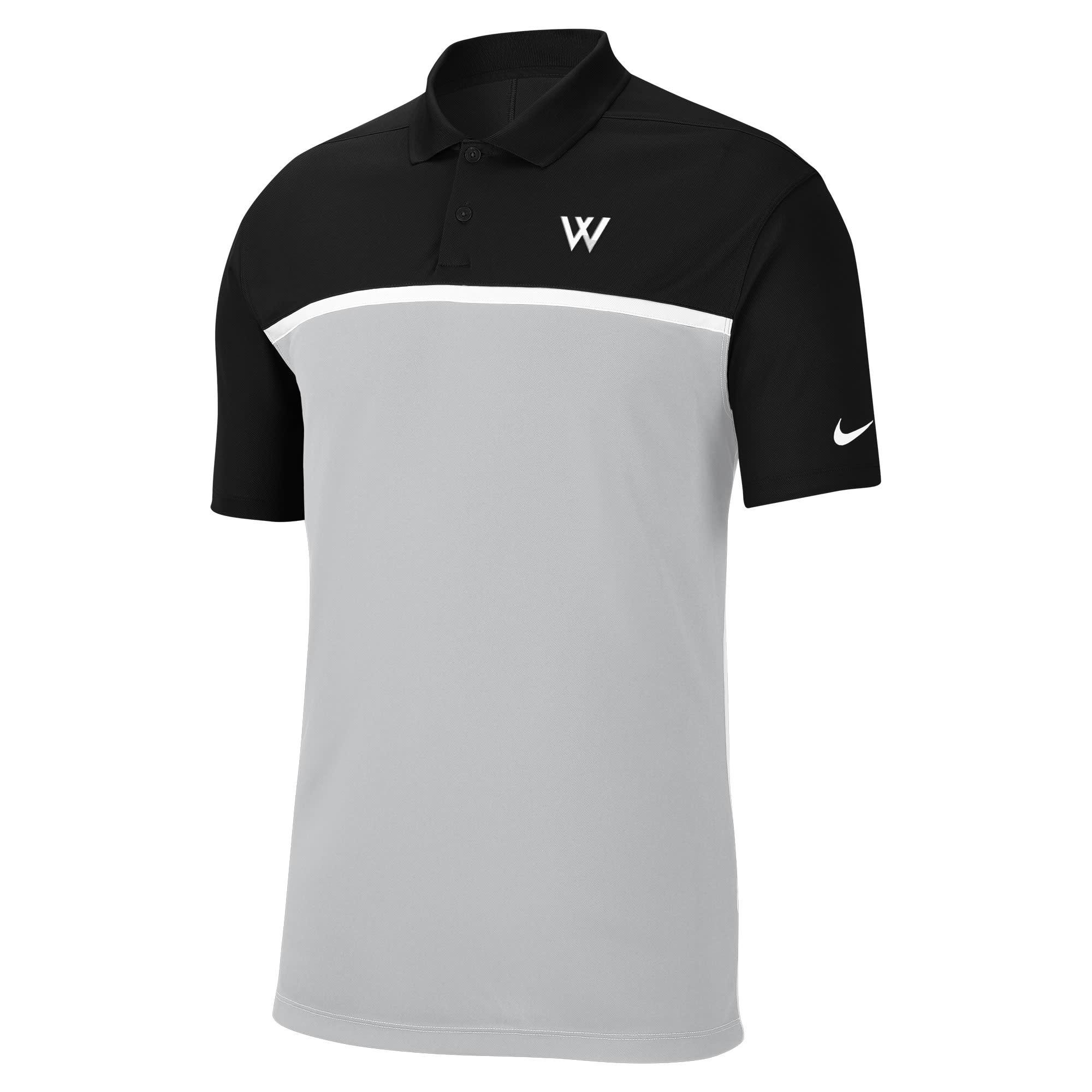 Nike Polo: Nike Victory Colorblock - Black/Light Gray w/White Stripe