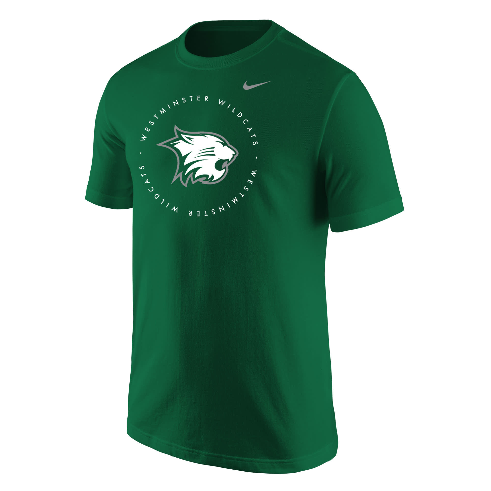 Nike T: Nike Core SS Green with Cathead & Westminster Wilcats in Circular Pattern