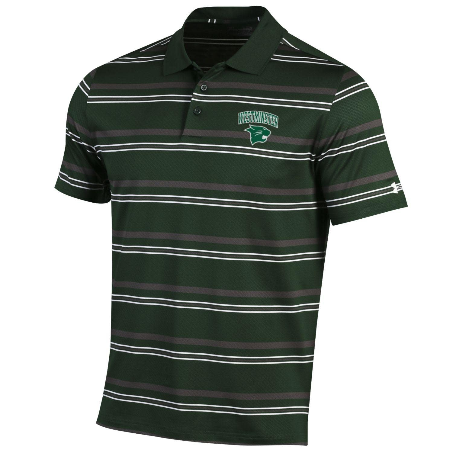 Under Armour Polo: UA Men's Dark Green with Gray/White Stripe West over Cat in Green Thread