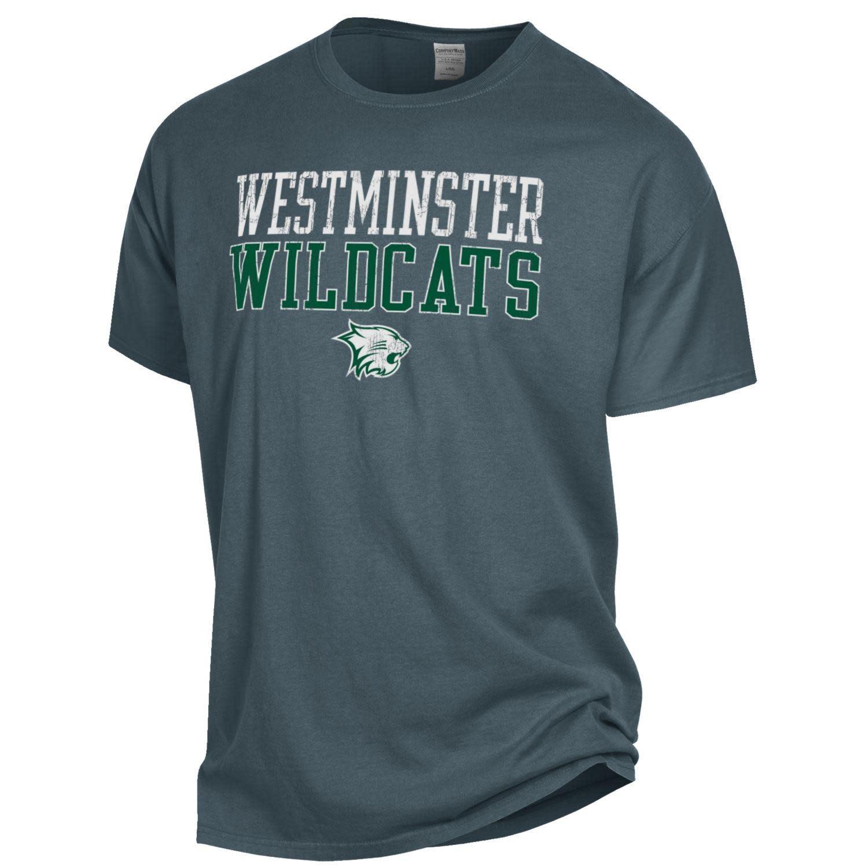 Comfort Wash T: Comfort Wash SS Westminster Wildcats over Wildcat Logo