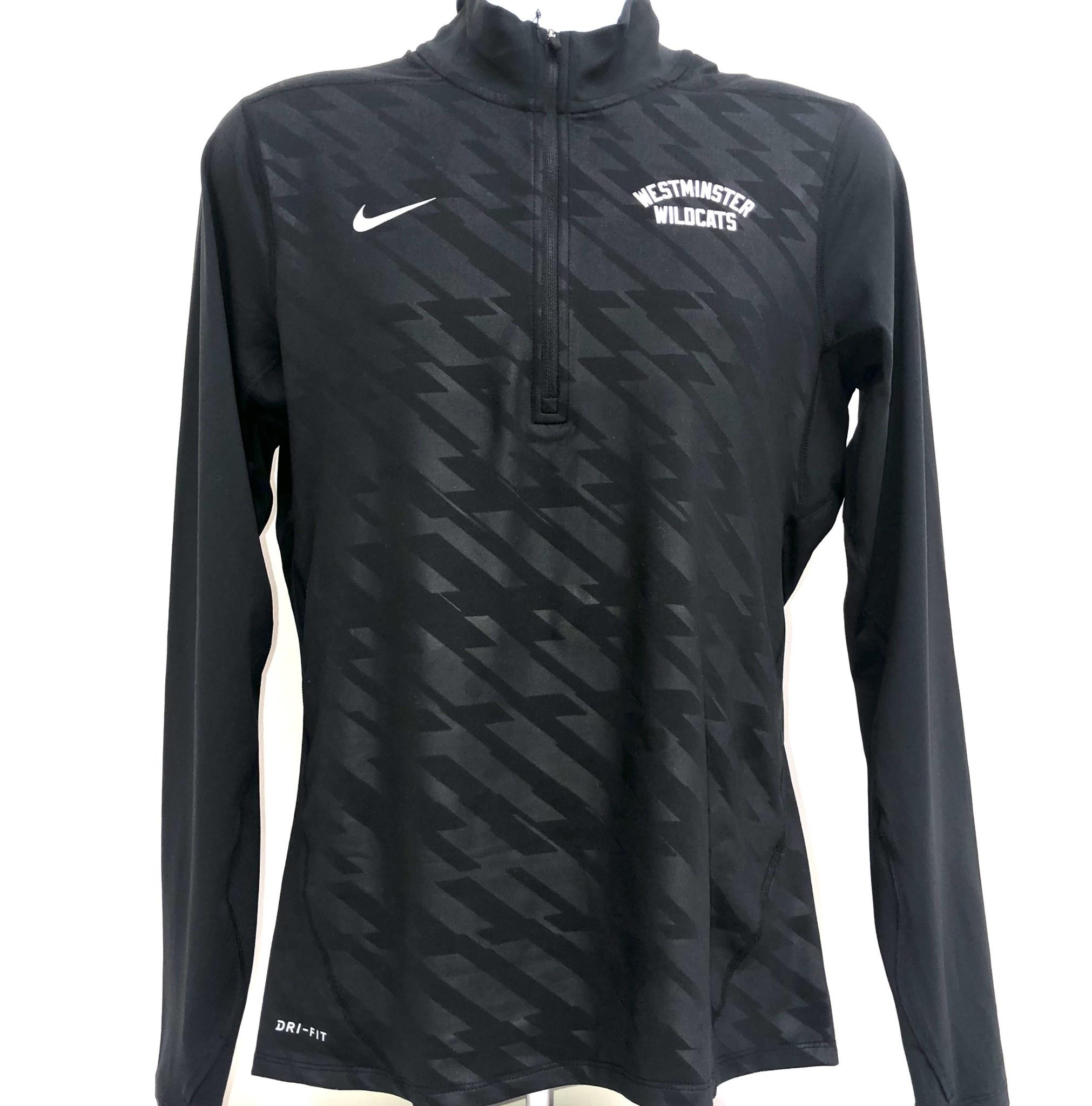 Nike Pullover: Nike Dri-fit 1/4 Zip LS Embossed Element - Black