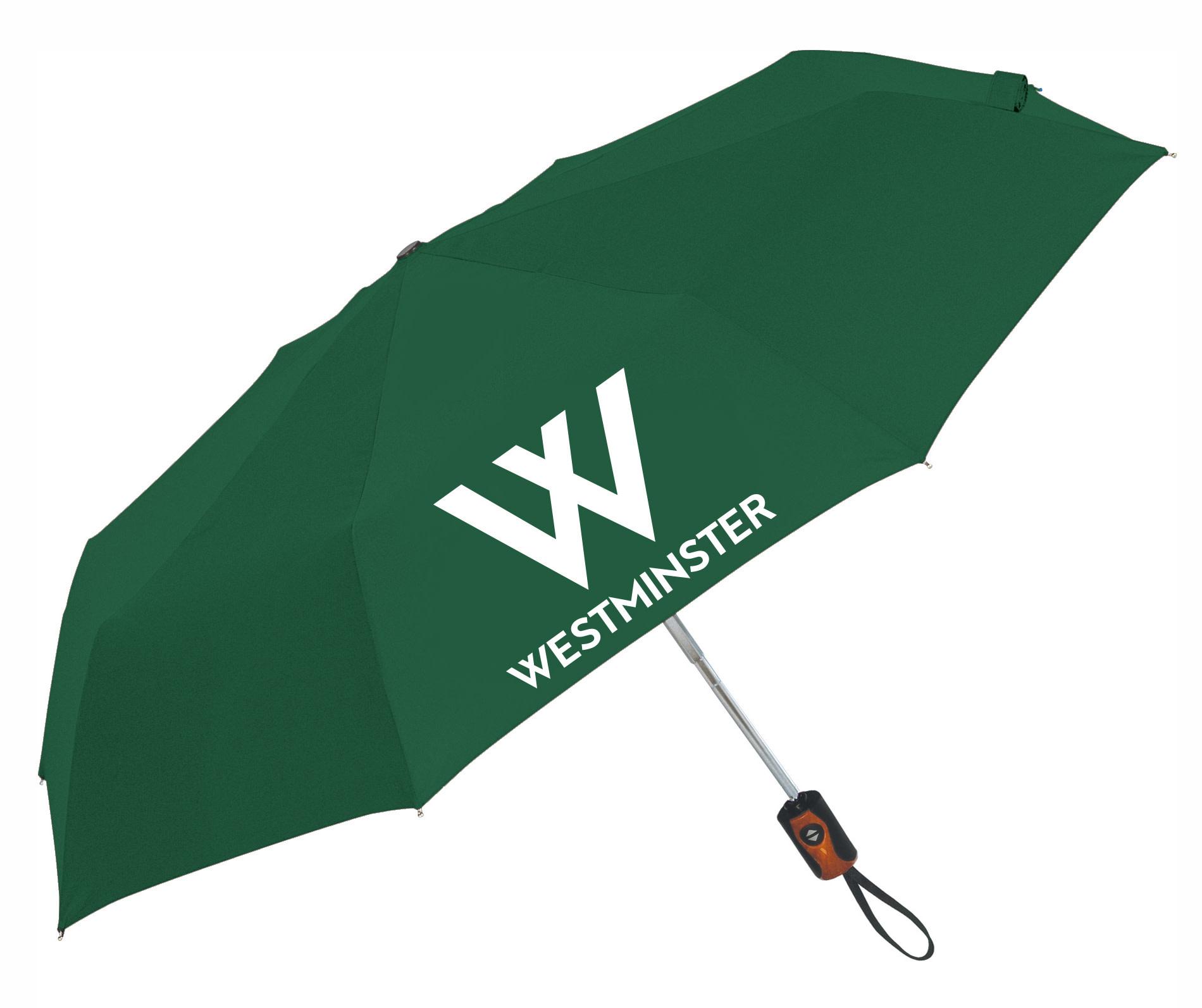 Storm Duds Umbrella: Auto Open/ Close Wooden Handle