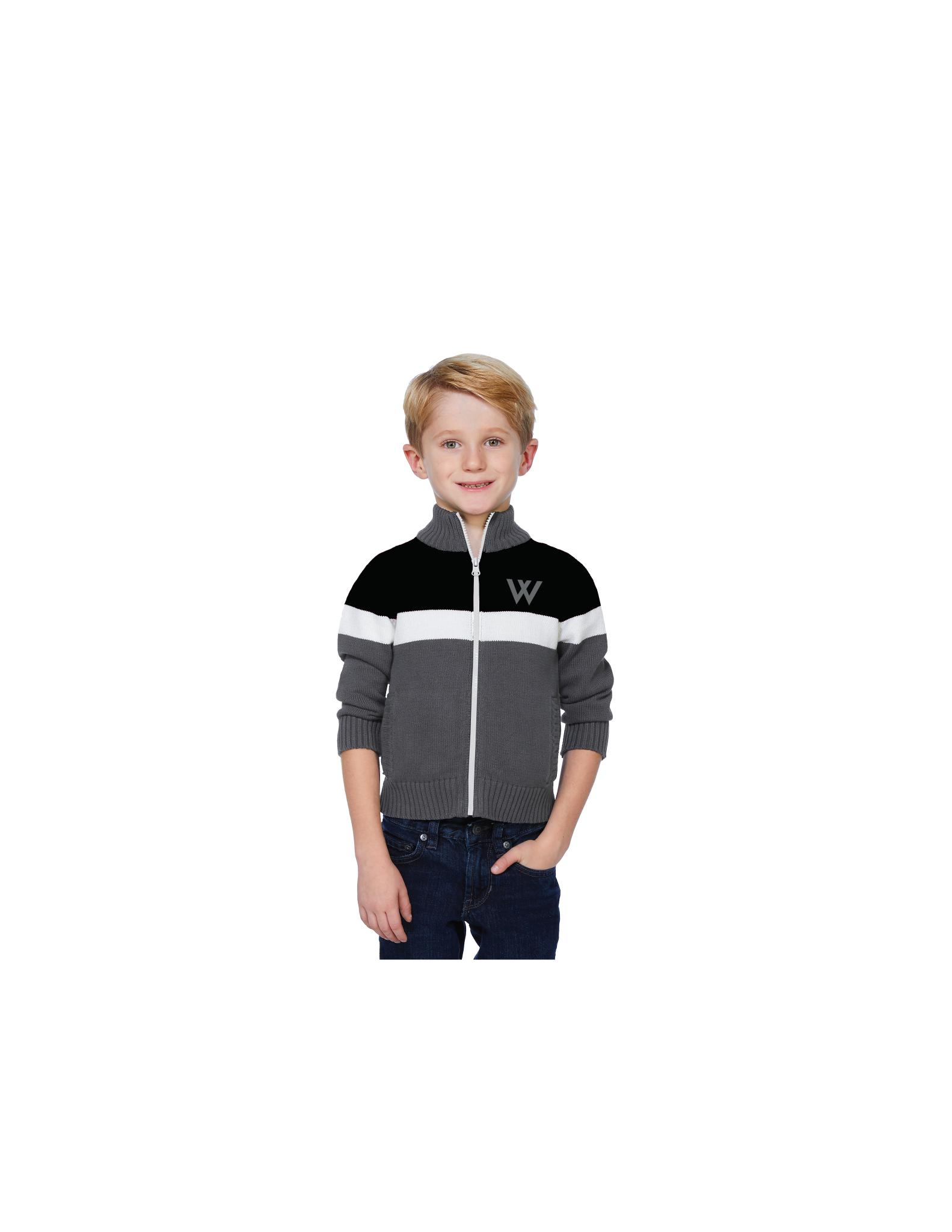Sweater: Team Full Zip, Gray and Black