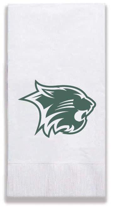 Wildcat Dinner Paper Napkins, 10 Pk, Green Cat Logo