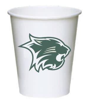 Wildcat Paper Cups, 10 Pk, Green Cat Logo