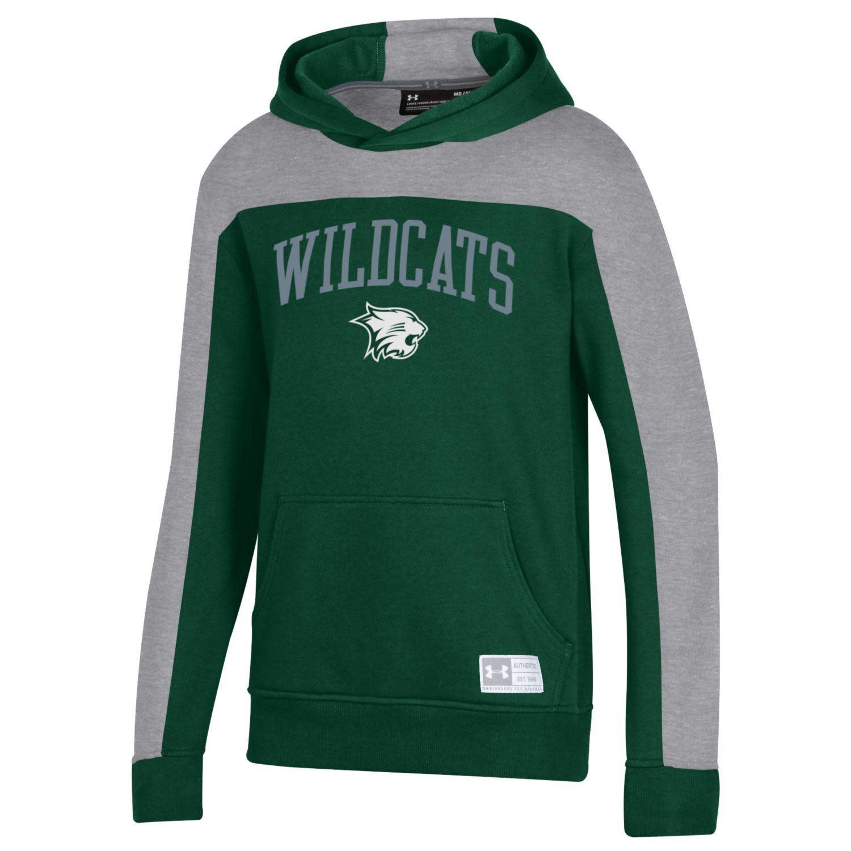 Under Armour Sweatshirt: UA Boys Gameday Fleece Hood, Forest Green, Wildcat Over School Mascot