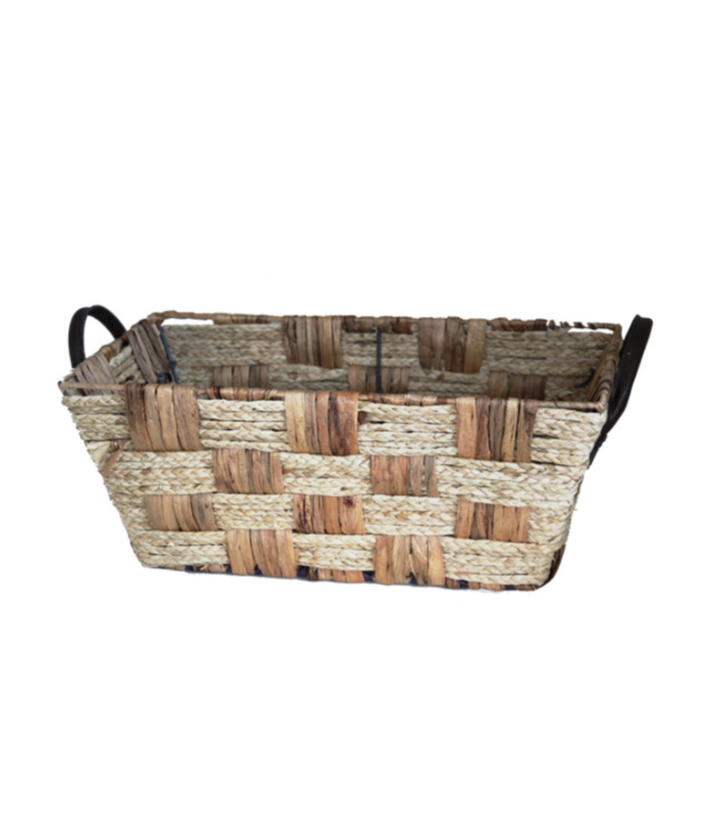 """17"""" Seagrass Basket with Leather Handles"""