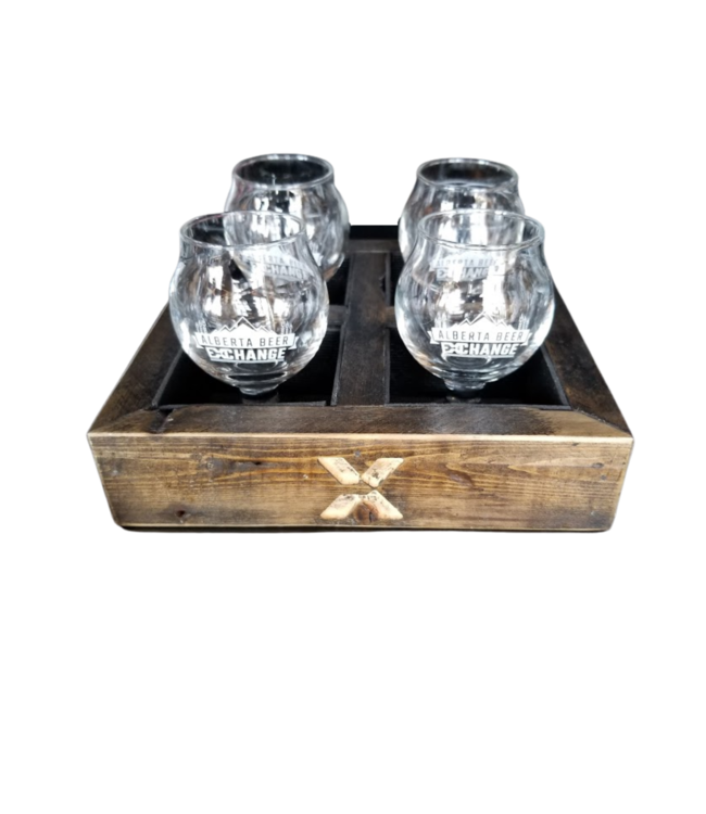 ABX Branded Tasting Flight - 4 Glasses and Wood Tray