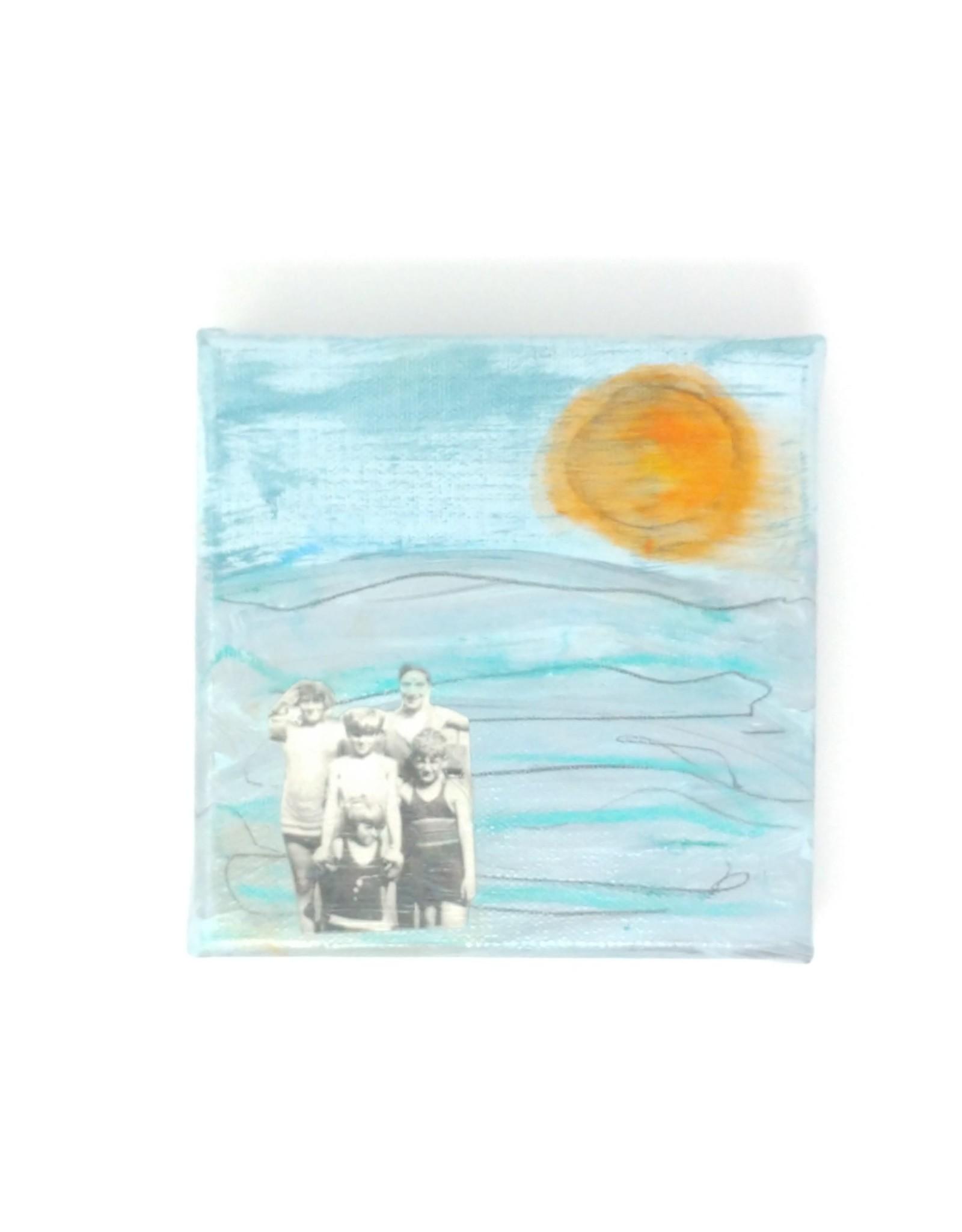 "Amy Mason Amy Mason - Beach Family Orange Sun 4"" x 4"""