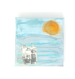 "Amy Mason Amy Mason - Beach Family Orange Sun 4"" x 4"""