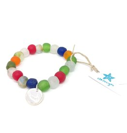 KLM Designs KLM Designs - Rainbow Sea Glass Bracelet w/Nantucket Charm