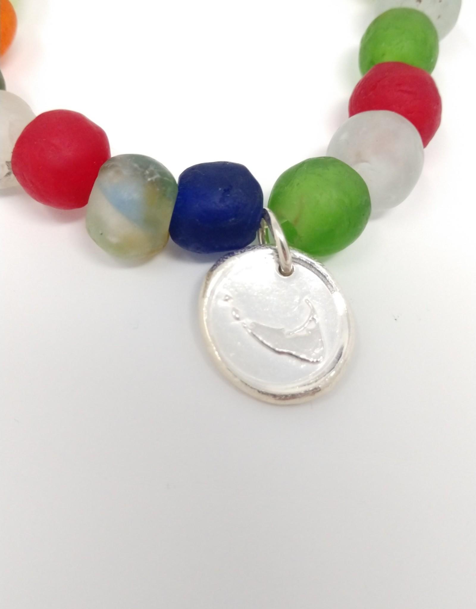 KLM Designs KLM Designs - Rainbow Sea Glass Bracelet w/Nantucket Charm