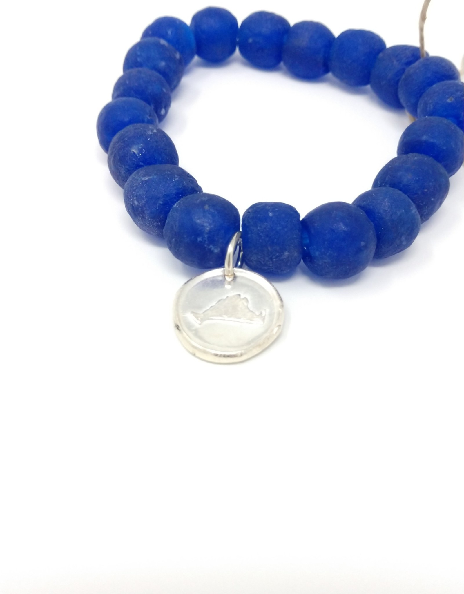 KLM Designs KLM Designs - Purple Sea Glass Bracelet w/ Fine Silver Martha's Vineyard Charm