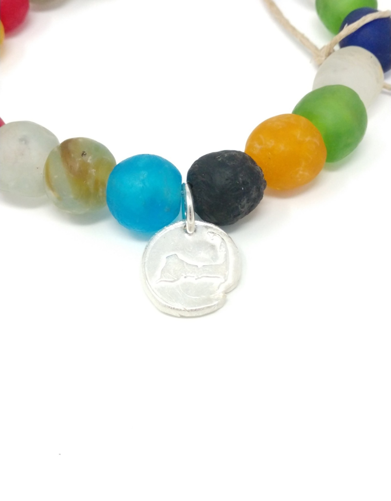 KLM Designs KLM Designs - Rainbow Sea Glass Bracelet w/ Fine Silver Cape Charm