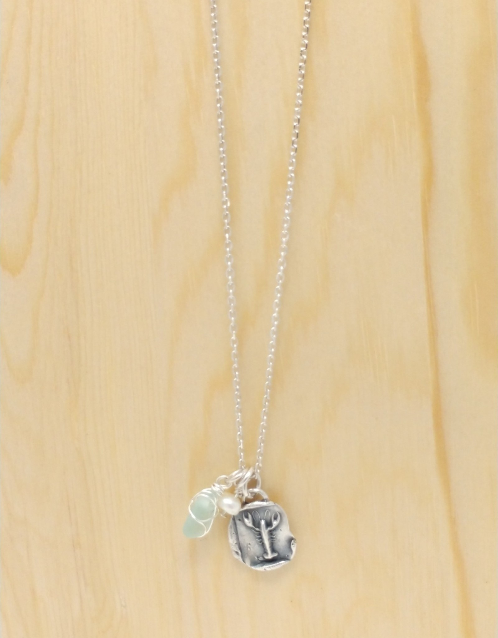 KLM Designs KLM Designs - Lobster Fine Silver Necklace w Sea Glass & Pearl
