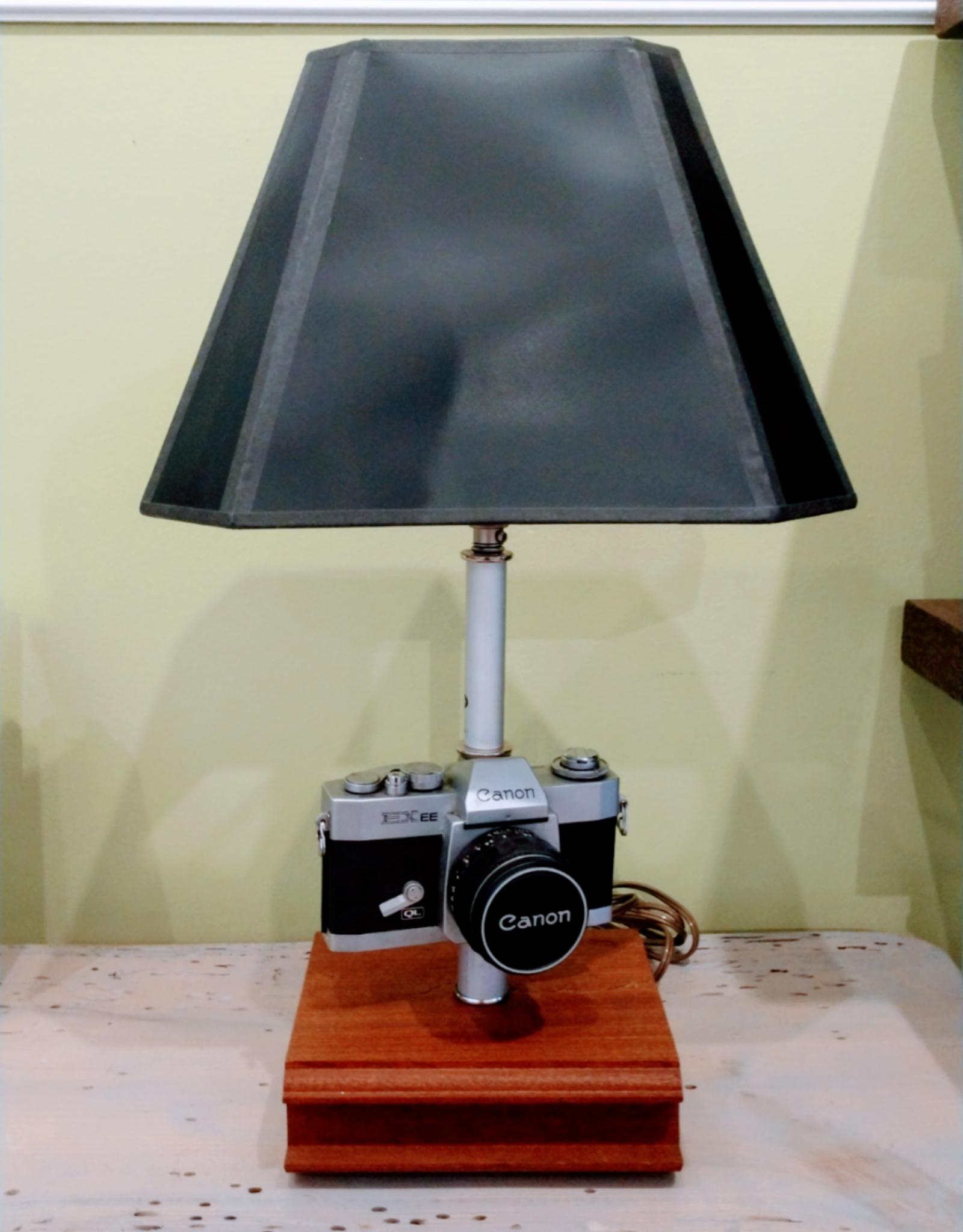 Jody Johnson Jody Johnson - 1970's Canon Camera Lamp w Mahogany Base