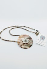 Acqua Divine Acqua Divine - Mother of Pearl Pendant w/Antique Inlay on Pearl Necklace