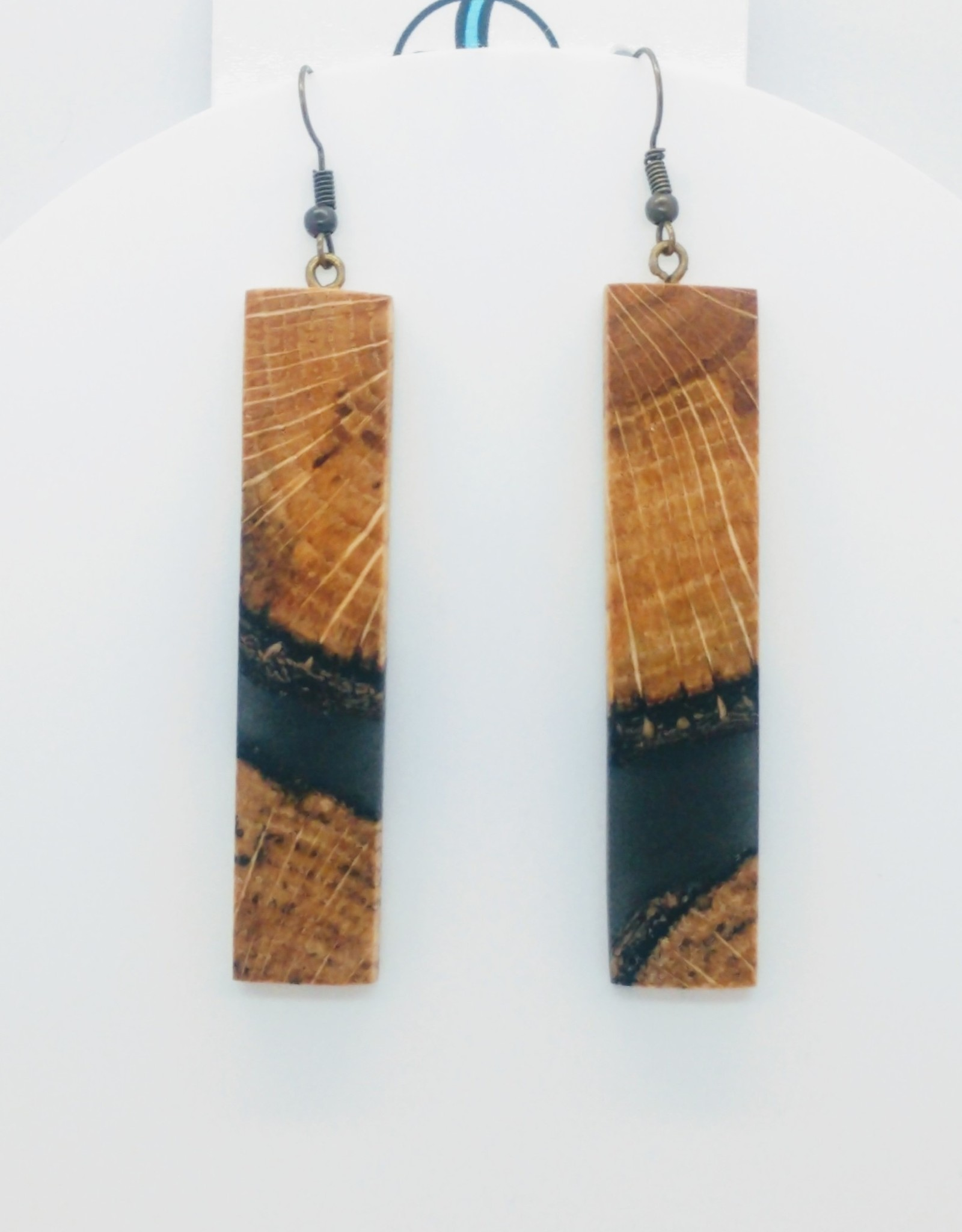 Resin River Designs Resin River Designs - Wood and Resin Earring w/Steel Fish Hooks - ID103