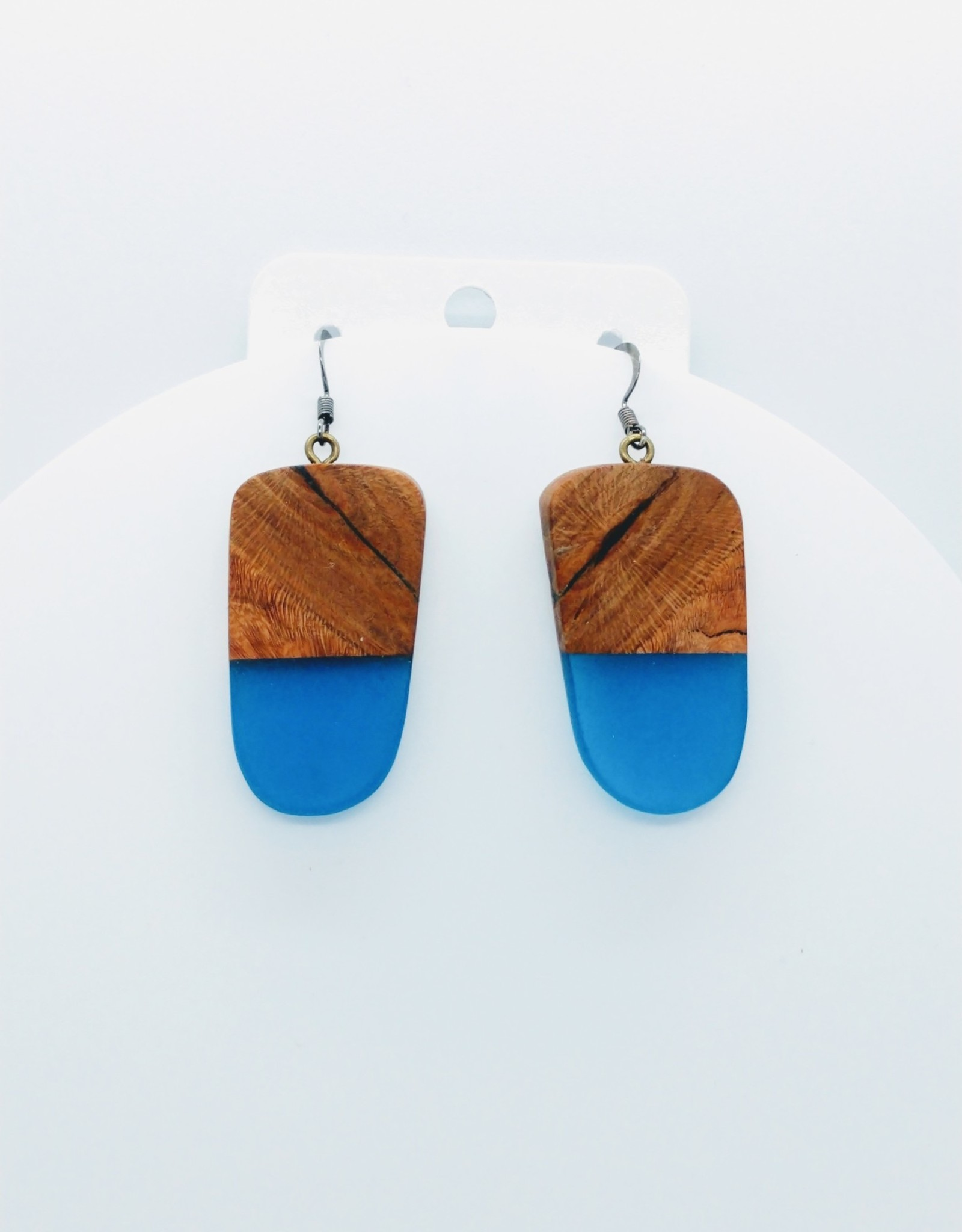 Resin River Designs Resin River Designs - Wood with Resin and Epoxy Earring w/Steel - ID108