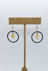 Acqua Divine Acqua Divine - Mother of Pearl w/ Oxidized Ring Earrings - Sterling Silver Hooks - AD5