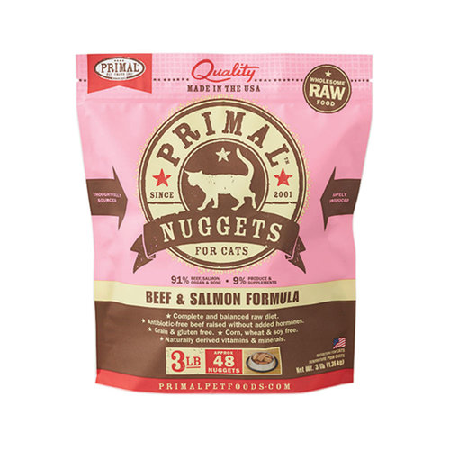 Primal Cat Frozen Nuggets Beef and Salmon 3lb
