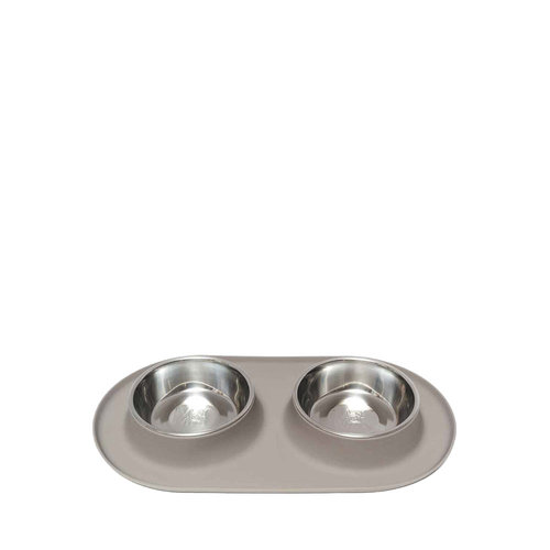 Messy Mutts Dog Double Bowl Gray XLarge