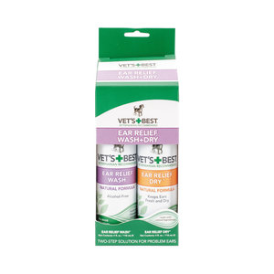 Vets Best Dog Ear Relief Wash & Dry 2 pack