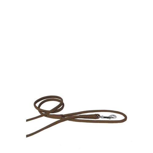 Dog Line Soft Round Leather Leash Brown