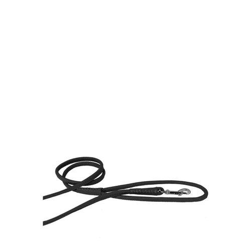 Dog Line Soft Round Leather Leash Black