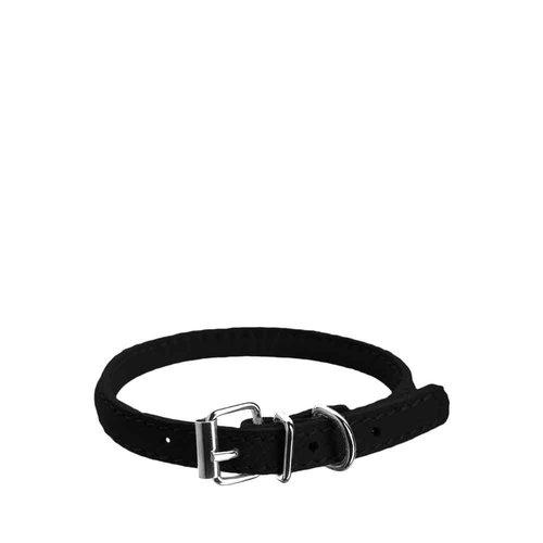 Dog Line Soft Round Leather Collar Black