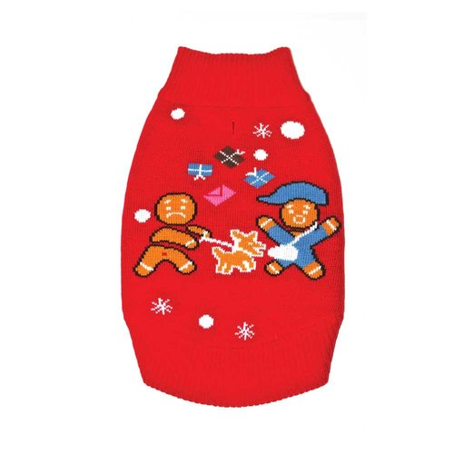 Funky Tails Christmas Sweater Dog Gingerbread Attack