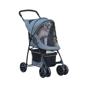 Pet Gear Stroller Happy Trails With Zip Gray