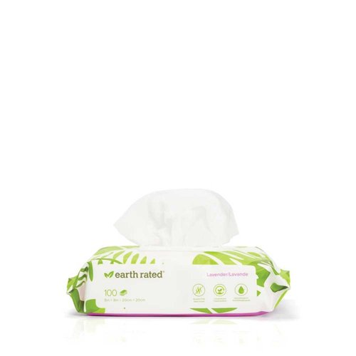 Earth Rated Compostable Pet Wipes Lavender 100pk