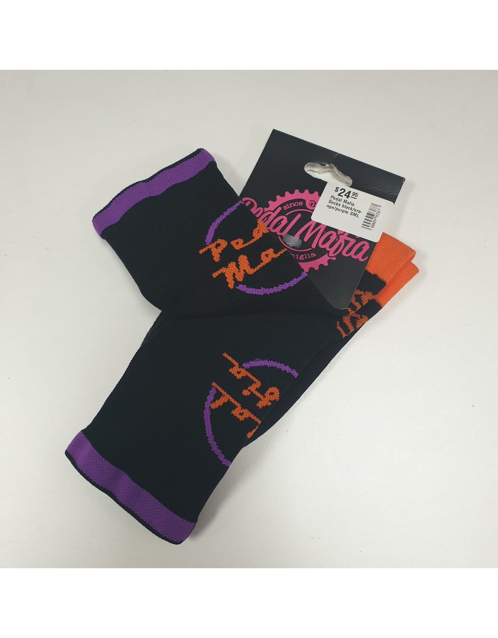 Pedal Mafia Cycling Socks Black/Orange/Purple S