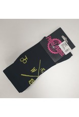 Pedal Mafia Cycling Socks Black/Yellow Criss Cross S