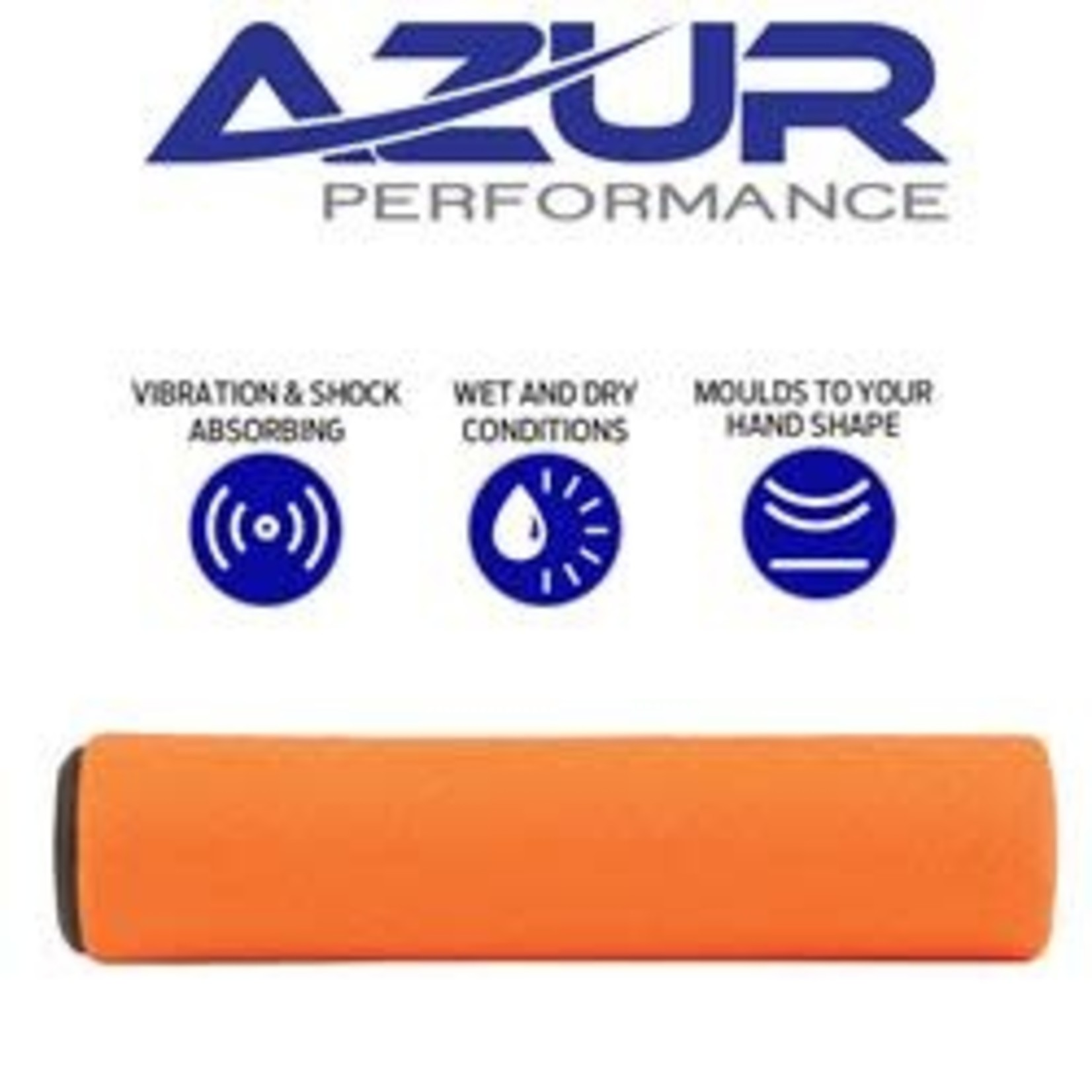 Azur Silicone MTB Handlebar Grips 130mm Orange