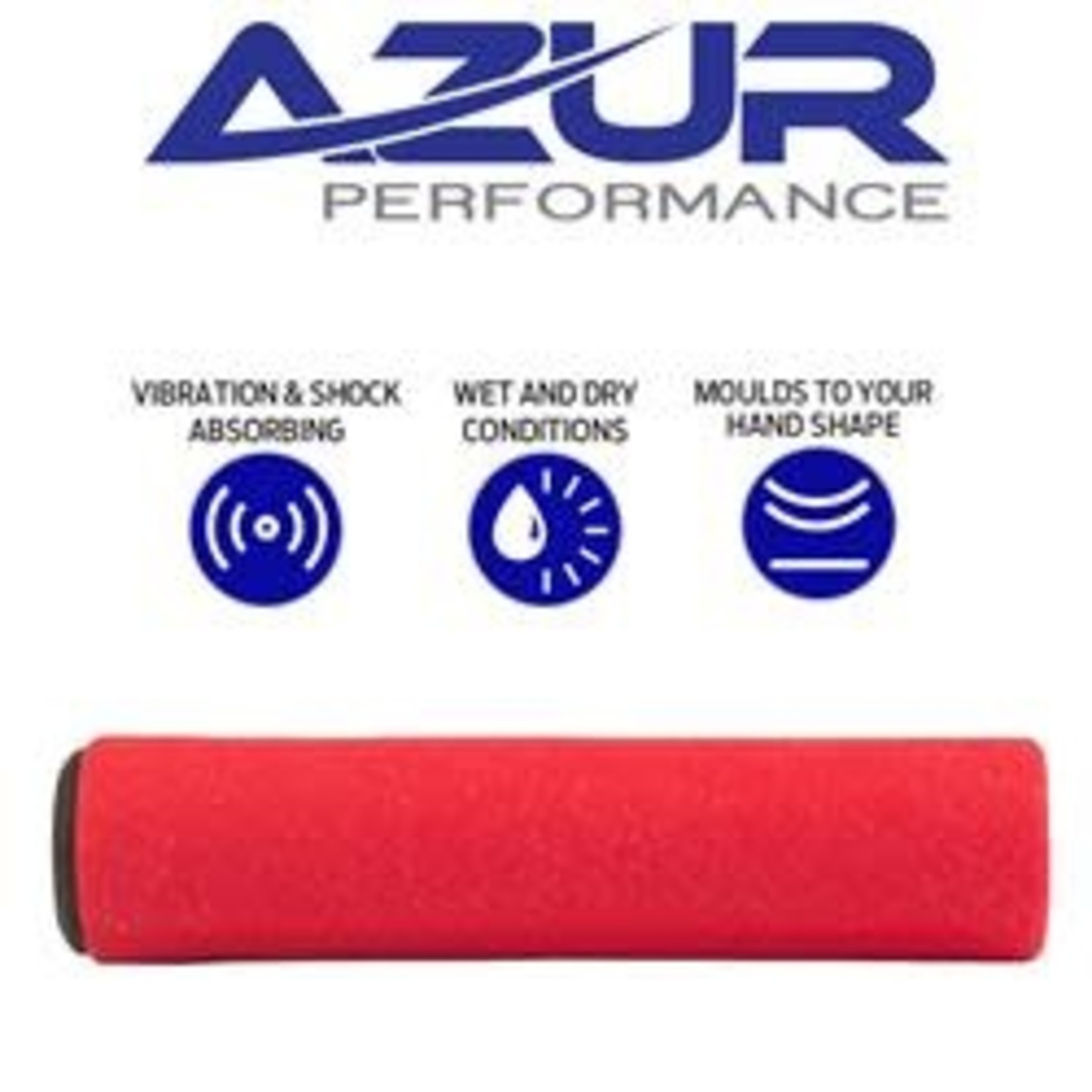 Azur Silicone MTB Handlebar Grips 130mm Red