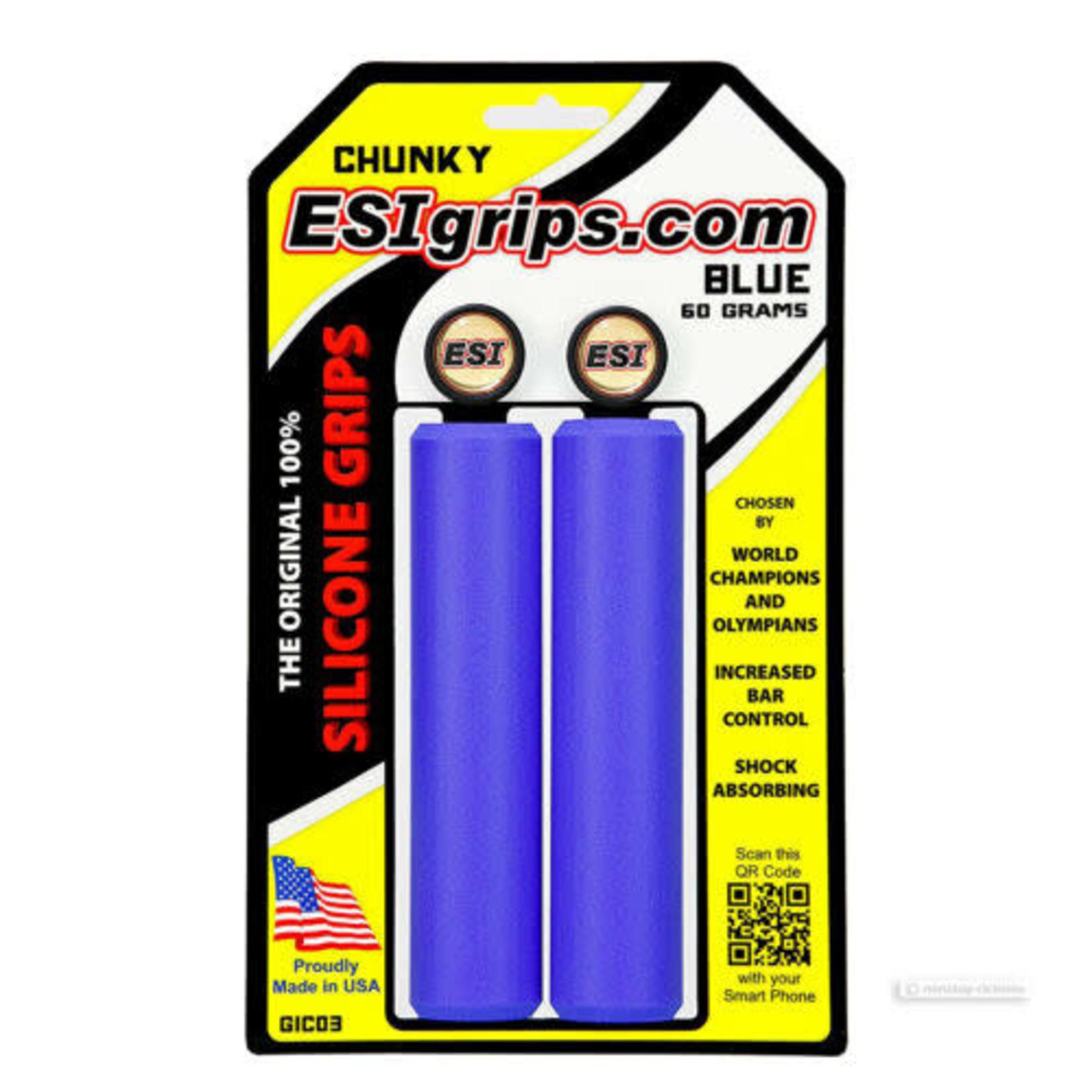 ESI Chunky Silicone MTB Handlebar Grip Blue