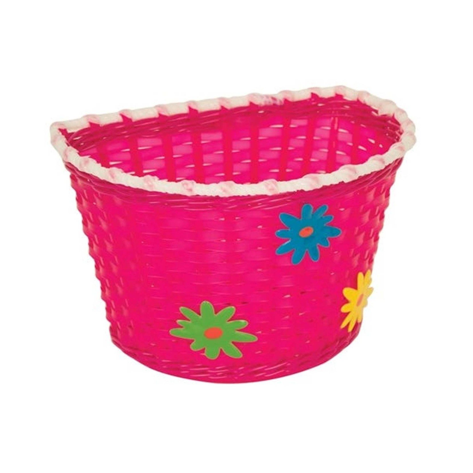 BikeCorp Kids Bicycle Basket Pink with Flowers