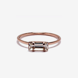 Bing Bang Tiny Baguette Ring in RG/Clear