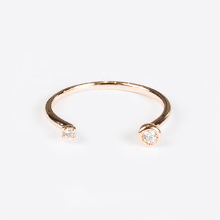 SS Fine Jewelry Double Diamond Ring in 10K Rose Gold