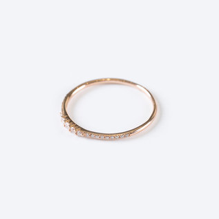 SS Fine Jewelry 5 Diamond Gradual Ring in 14K Rose Gold