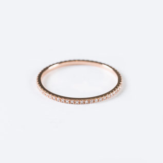 SS Fine Jewelry Eternity Band with White Diamonds in 14K Rose Gold