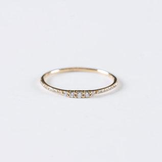 SS Fine Jewelry 5 Diamond Gradual Ring in14K Yellow Gold