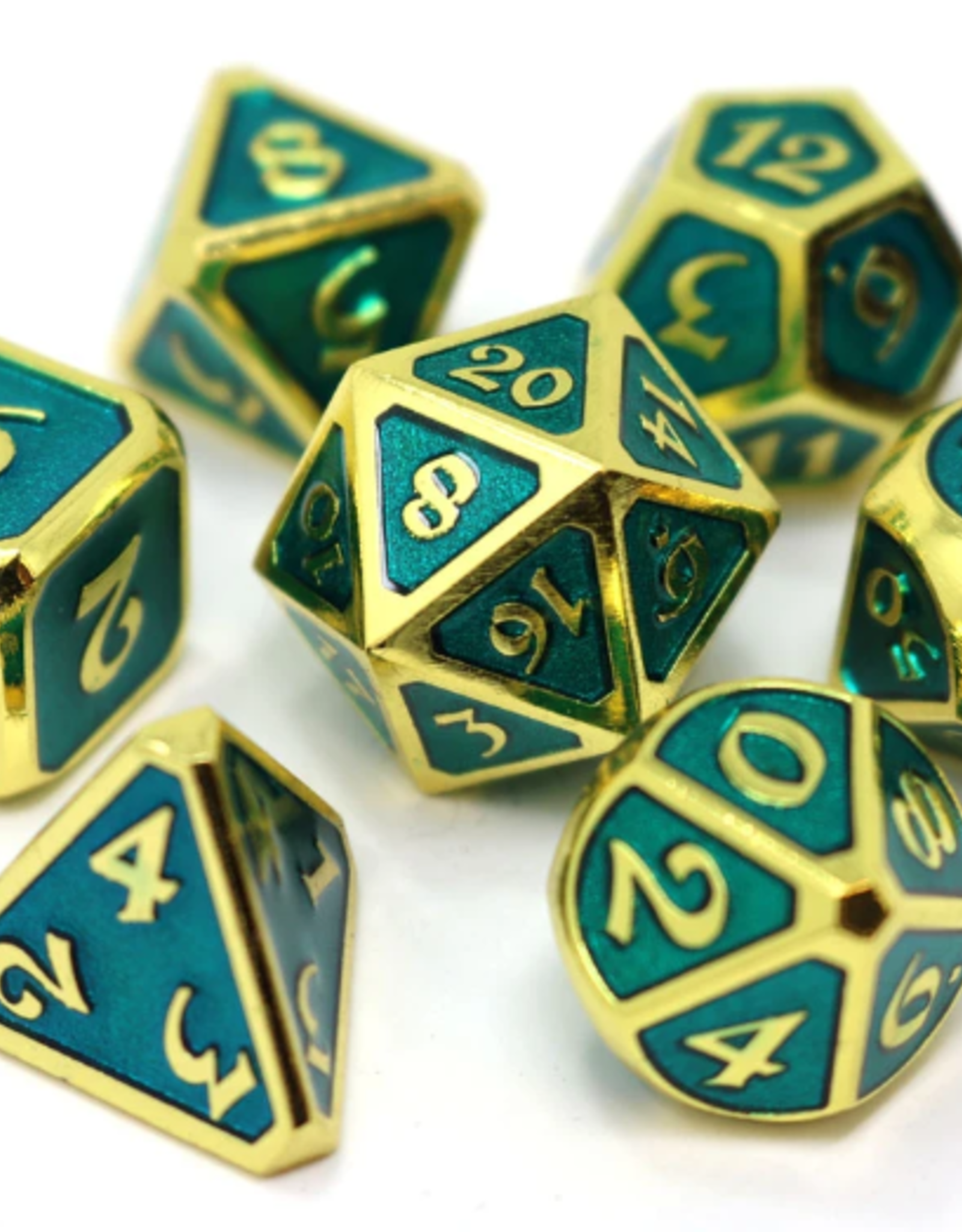 Die Hard Dice 7 Metal Dice Set Mythica Gold Aquamarine
