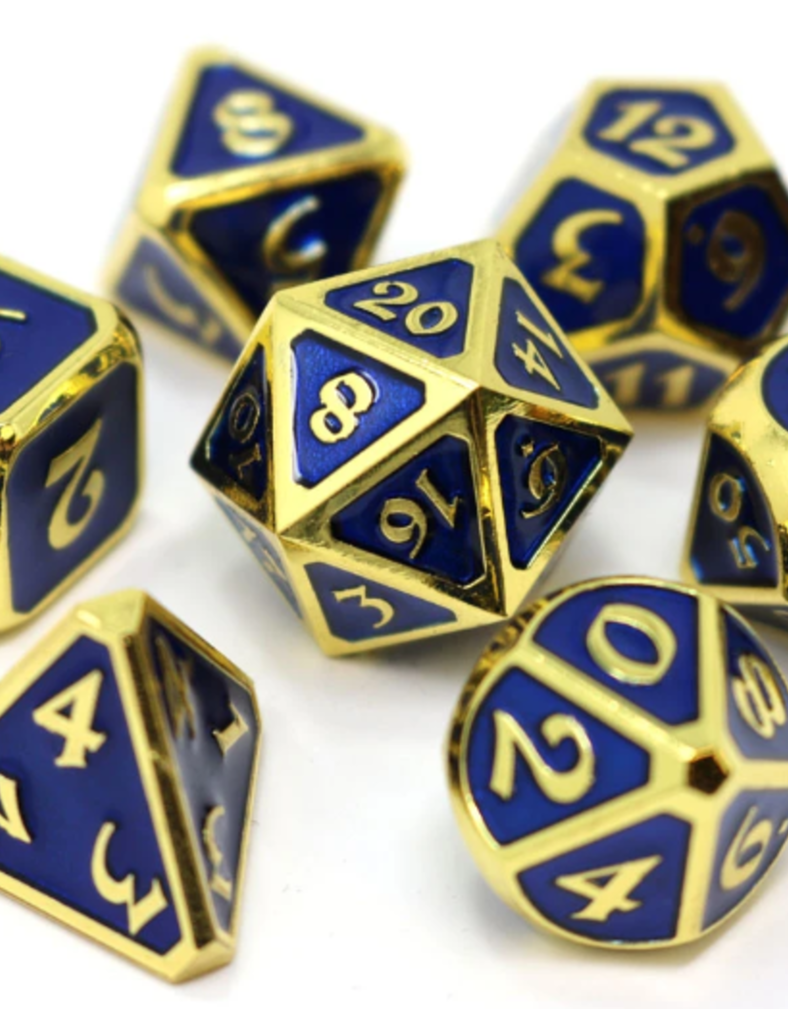 Die Hard Dice 7 Metal Dice Set Mythica Gold Sapphire