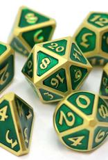 Die Hard Dice 7 Metal Dice Set Mythica Satin Gold Emerald
