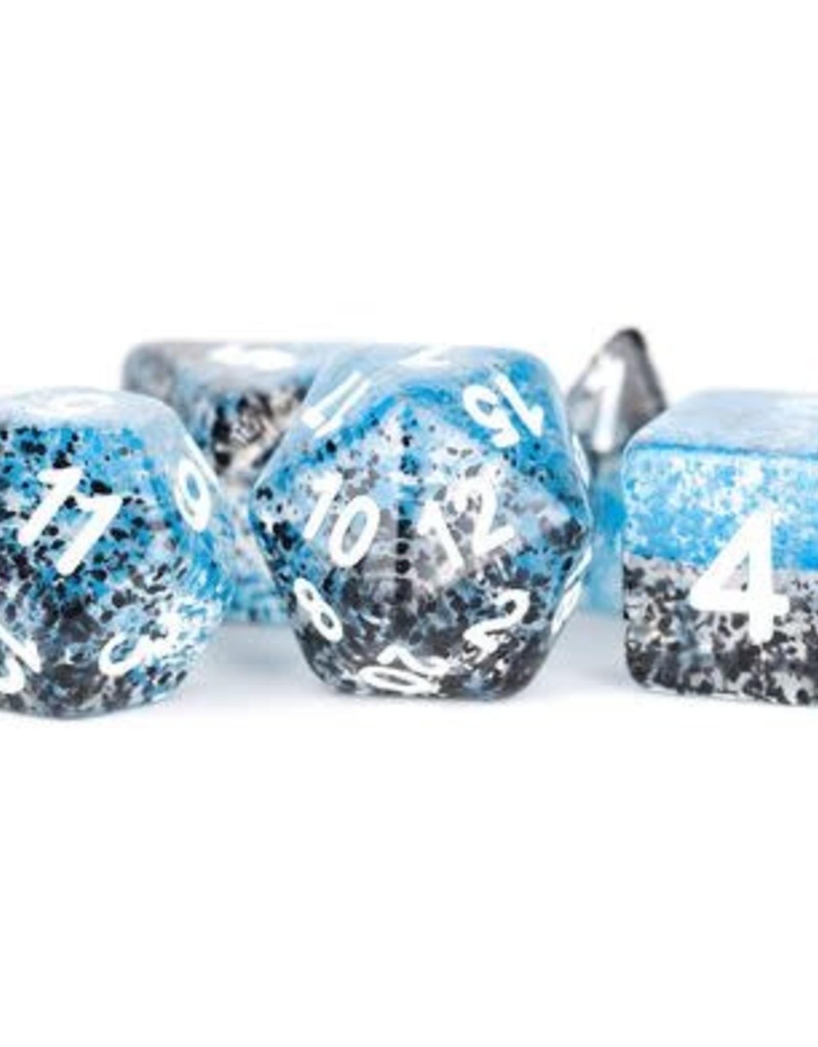 Metallic Dice Games Poly Set Dice Particle Blue/Black