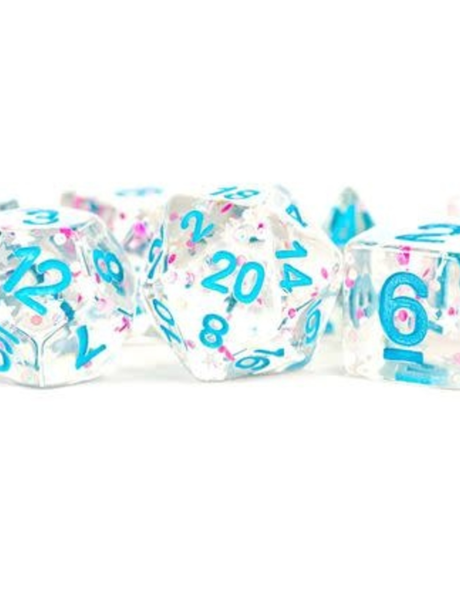 Metallic Dice Games Poly Set Dice Clear Confetti