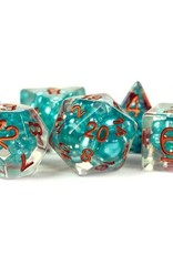 Metallic Dice Games Poly Set Pearl: Teal w/ Copper